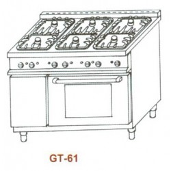 Gáztűzhely, 6égő+GN1/1sütő 3 ráccsal GT-61 1