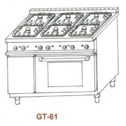 Gáztűzhely, 6égő+GN1/1sütő 1rács+2sima v. bordás sütőlap GT-61 5