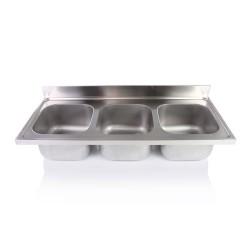 Hárommedencés mosogatófedlap, 1800x700 mm, medencék: 500x500x300 mm