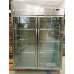 Két Üvegajtós hűtővitrin Gn 2/1 polcmérettel rozsdamentes 1200 literes