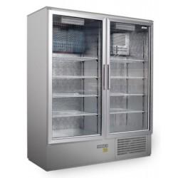 Csúszó üvegajtós rozsdamentes hűtővitrin bruttó 800 literes