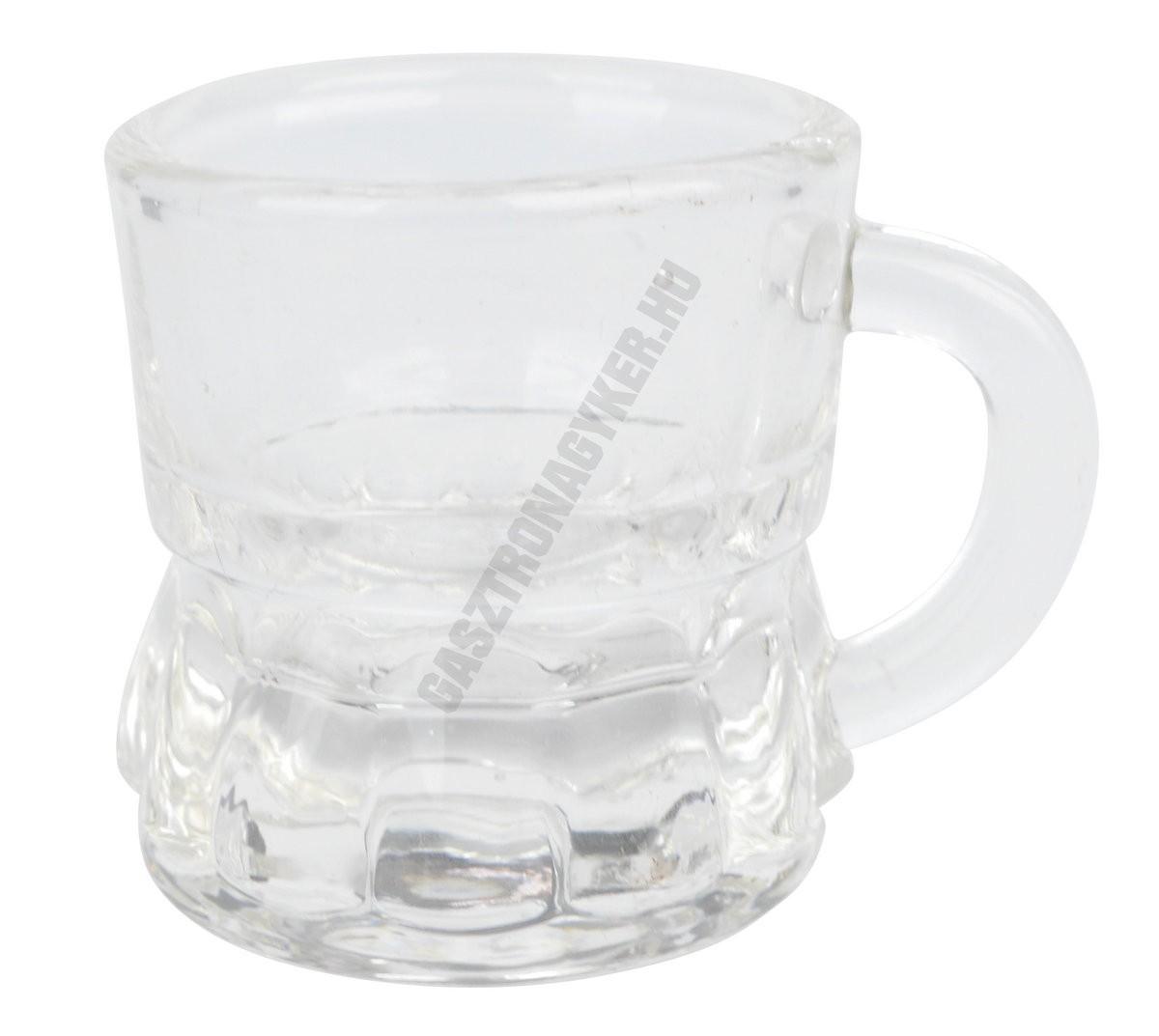Snapszos-pálinkás pohár 25 ml füles, üveg