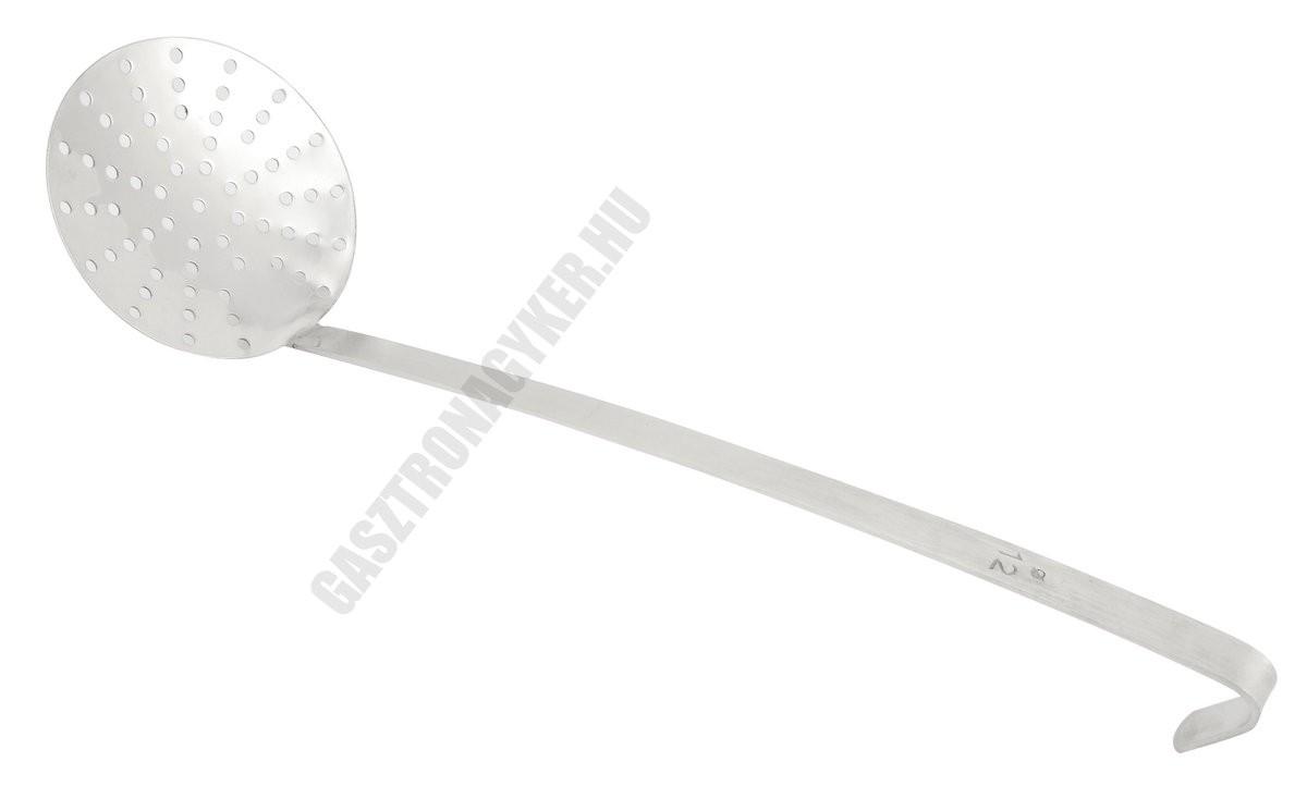 Szűrőkanál 12×43 cm, kerek, lyukas, rozsdamentes