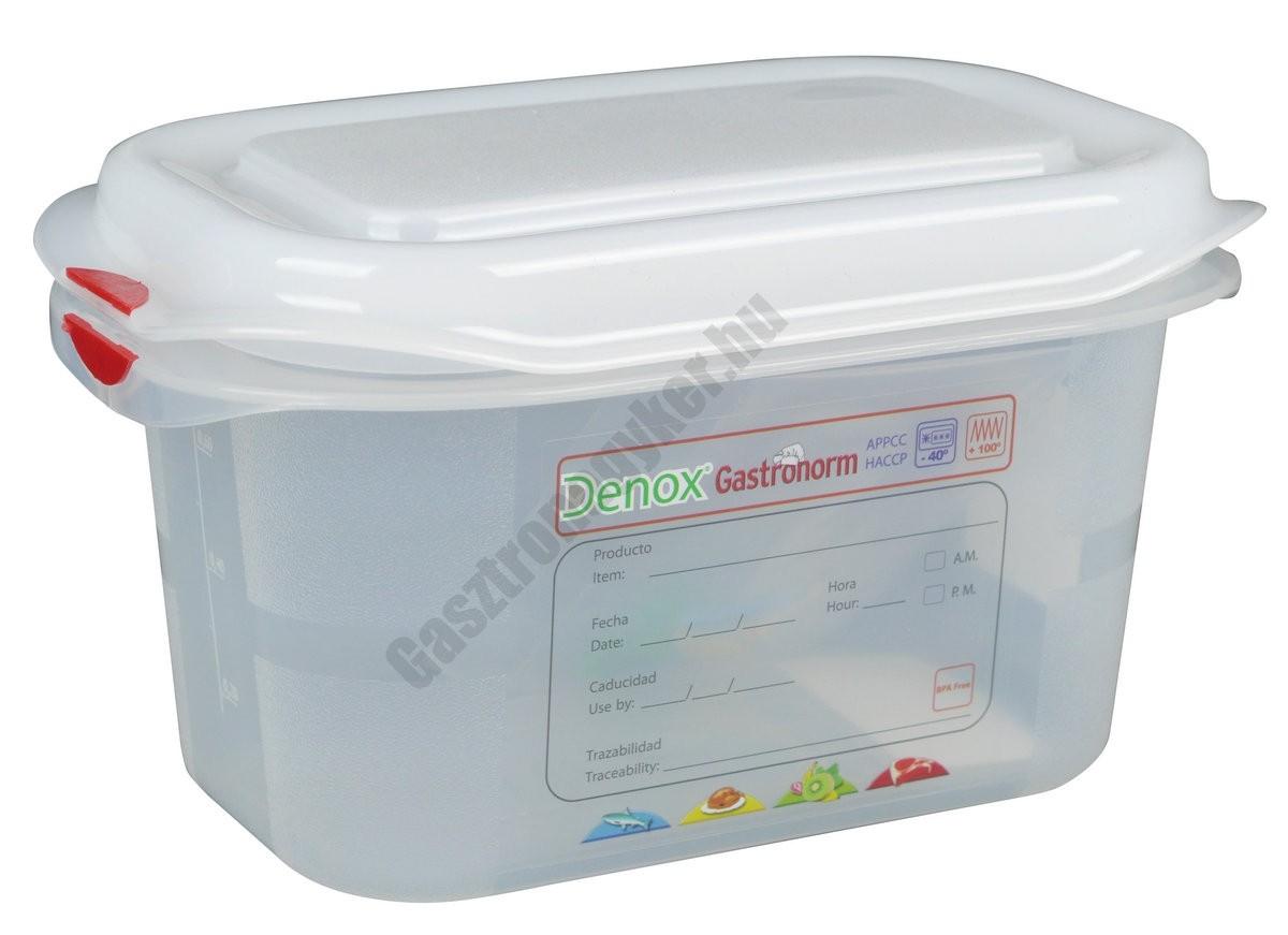Gn edény 1/9 100 mm (10,8×17,6×10 cm) 1 liter ételtároló légmentesen záró fedővel