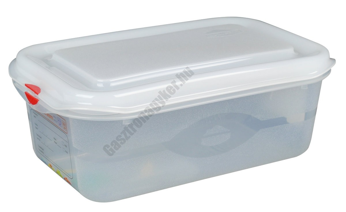 GN edény 1/4 100 mm (16,2×26,5×10 cm) 2,8 liter ételtároló légmentesen záró fedővel