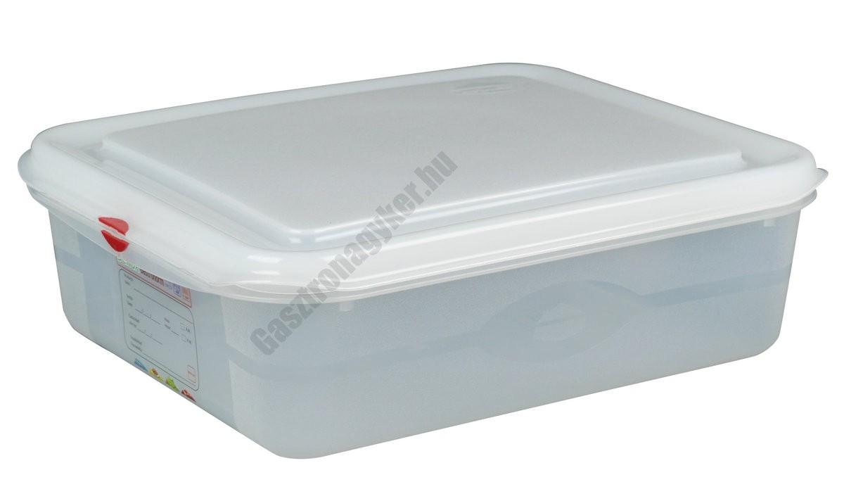 GN edény 1/2 100 mm (26,5×32,5×10 cm) 6,5 liter ételtároló légmentesen záró fedővel