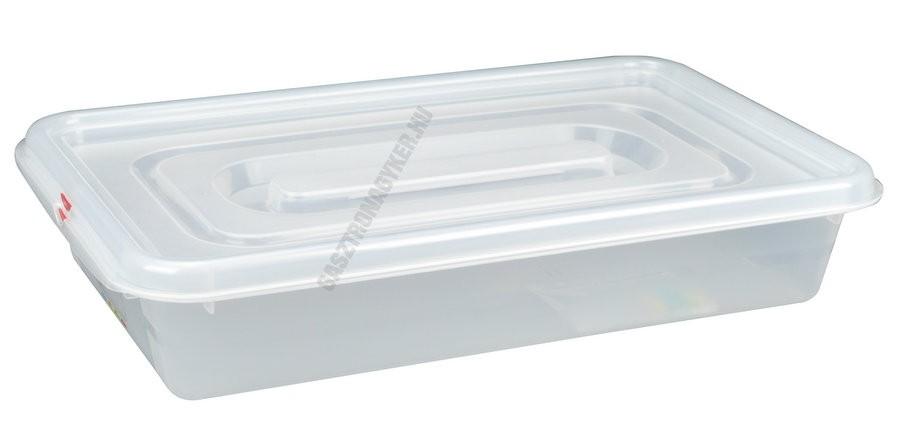 GN edény, 1/1 100 mm, 13 l, légmentesen záró fedővel, polipropilén