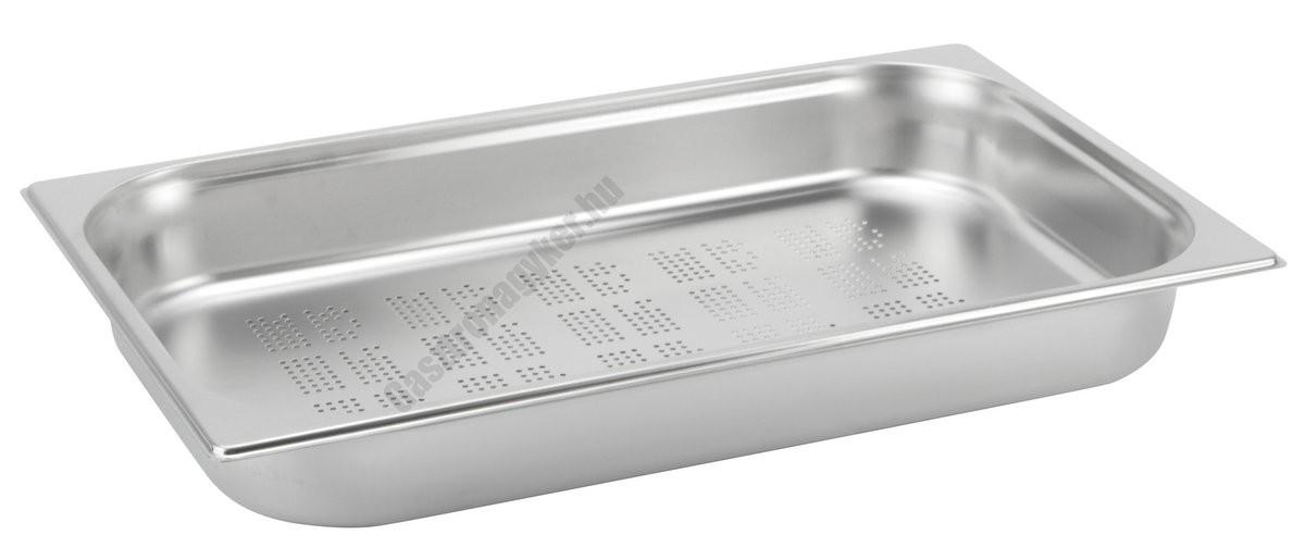 GN edény, 1/1 65 mm, perforált, rozsdamentes