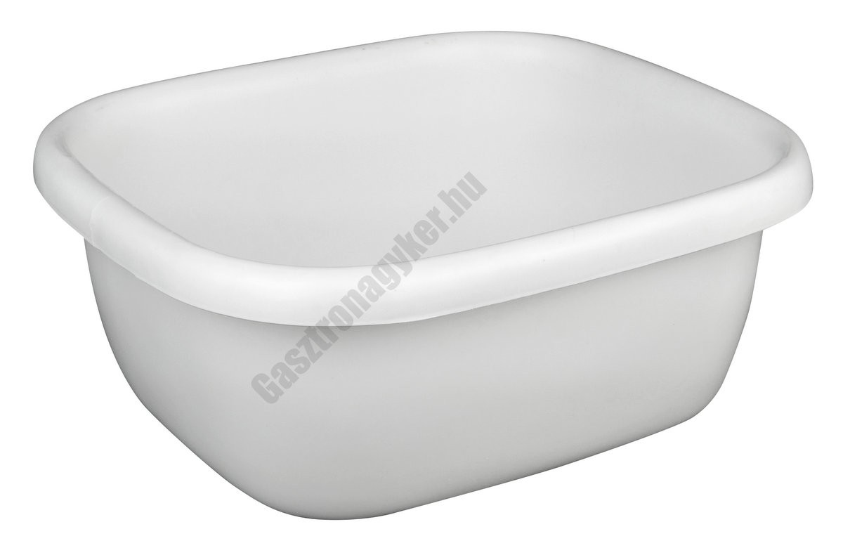 Szögletes tál, 34,5×39,5×16 cm, 9,5 liter, fehér, műanyag