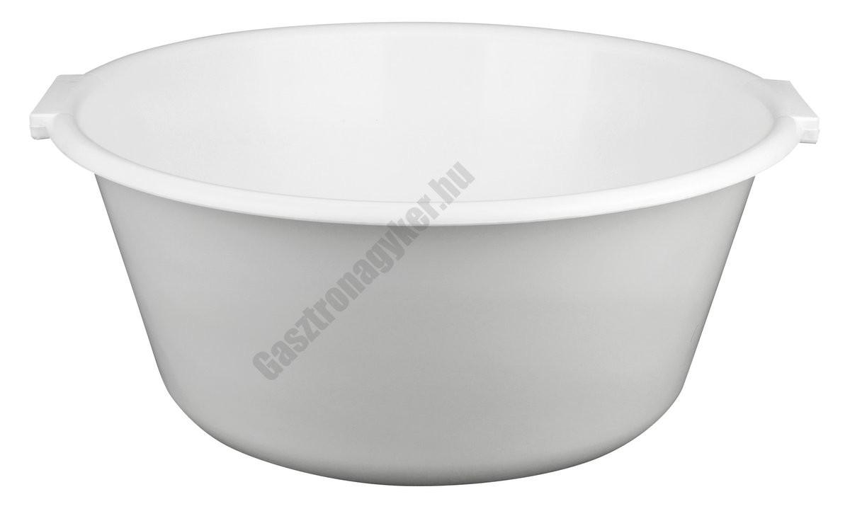 Fogantyús tál, 40×17 cm, 15 liter, fehér, műanyag