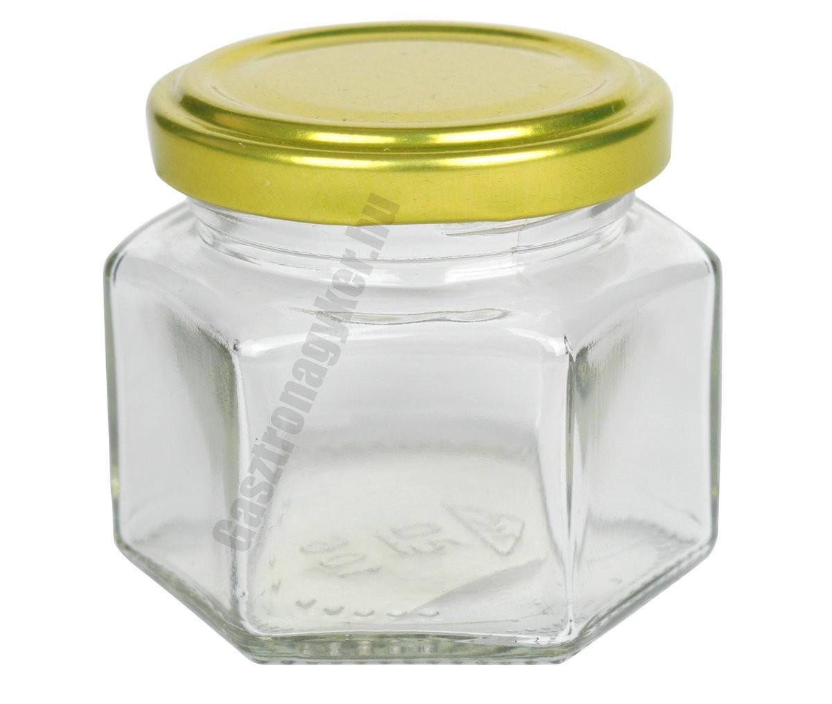 Hatszögletes díszüveg 105 ml aranyszínű tetővel