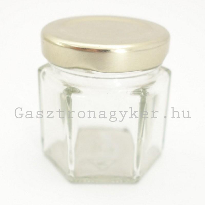 Hatszögletes díszüveg 47 ml aranyszínű tetővel