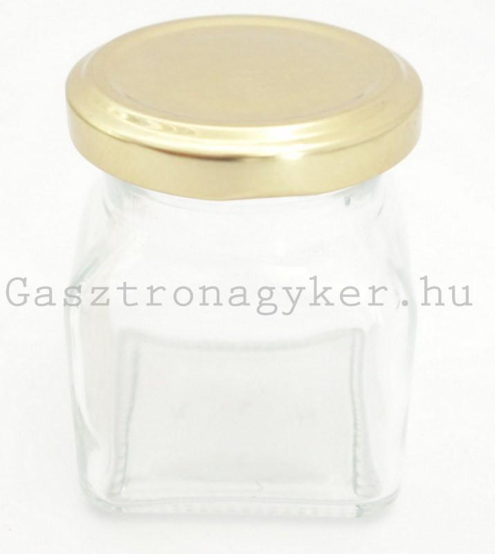 Négyszögletes díszüveg 120 ml aranyszínű tetővel