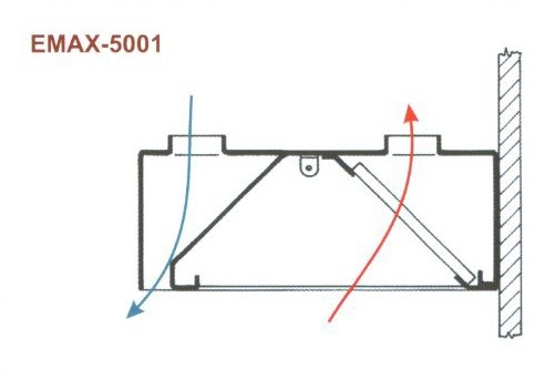 Elszívóernyő Fali, frisslevegő befúvással Emax-5001 KR 1000×1000×400