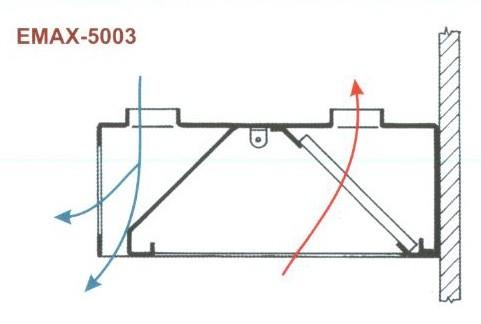 Elszívóernyő Fali, két irányú frisslevegő befúvással Emax-5003 KR 1000×1000×400