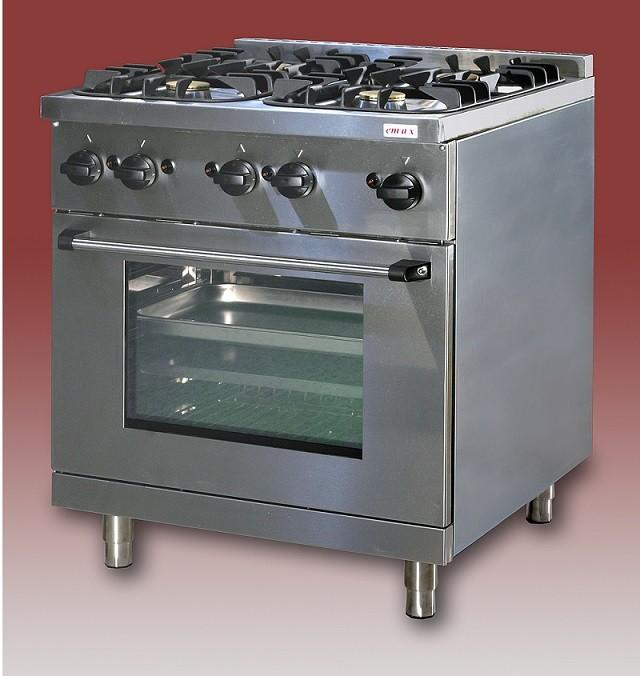 Gáztűzhely, 4 égő+GN 1/1 sütő, 2 sima v. bordás sütőlap GT-41 5