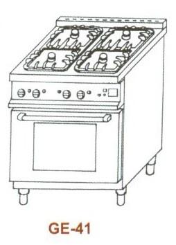 Gáz-elektromos tűzhely, 4 égő,GN1/1el.sütő, 1 rács, 1 mel.lap GE-41 2