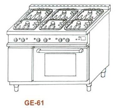 Gáz-elektromos tűzhely, 6 égő,GN1/1el.sütő, 2rács,1mel.lap GE-61 2