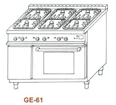 Gáz-elektromos tűzhely, 6 égő,GN1/1el.sütő, 2rács,1sütőlap GE-61 3