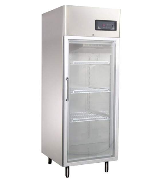 Üvegajtós hűtővitrin Gn 2/1 polcmérettel, rozsdamentes, 550 literes GNC740L1G