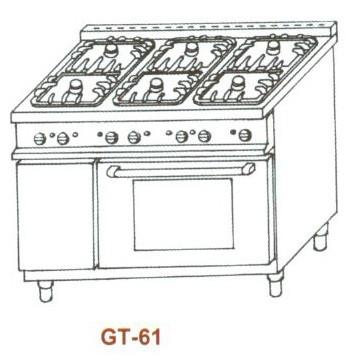 Gáztűzhely, 6 égő+GN 1/1 sütő, 2 rács+2 sima v. bordás sütőlap GT-61 5