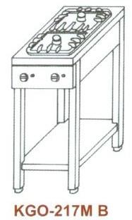 Gáz Főzőasztal, 2 égő, 2 ráccsal KGO-217 MB 1