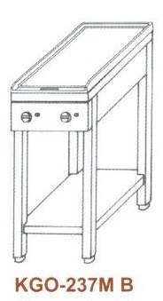 Gáz Főzőasztal, 2 égő, 1 sima v. bordás sütőlappal KGO-237 MB 3