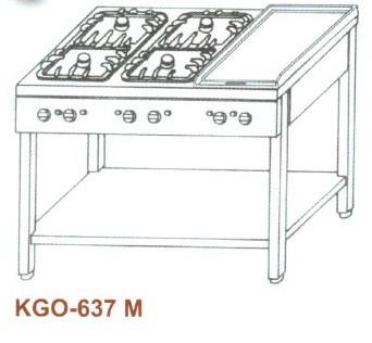 Gáz Főzőasztal, 6 égő, 2 rács +1 sima v. bordás sütőlappal KGO-637 M 3