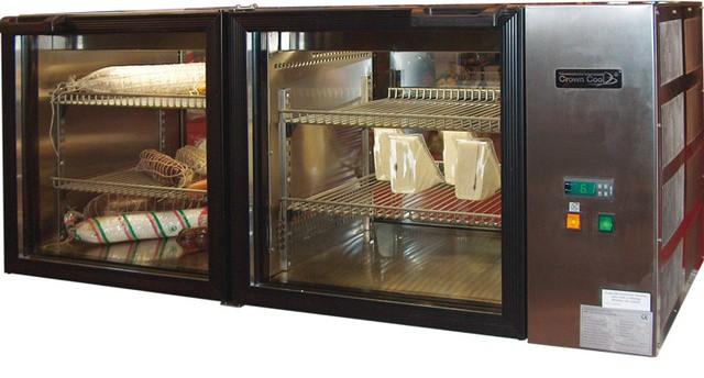 Fekvő két légterű 185 literes rozsdamentes hűtővitrin L-185-2/3 RM