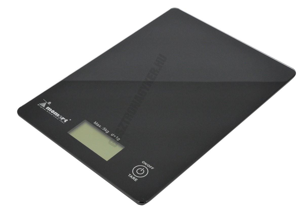 Digitális konyhamérleg, 5 kg méréshatár, üveglapos fekete