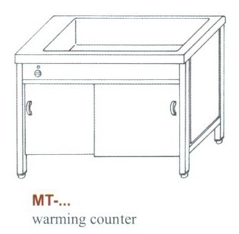 Elektromos melegen tartó pult, 3 oldalon zárt, ajtó nélkül MT-1200 Z