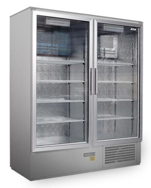 Üvegajtós rozsdamentes hűtővitrin, bruttó 1200 literes SCH 1400 S INOX