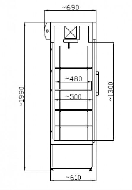 Üvegajtós hűtővitrin Inox, 400 literes SCH 402 INOX