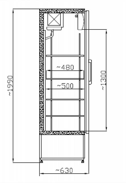 Üvegajtós hűtővitrin Inox bruttó, 600 literes SCH 601 INOX