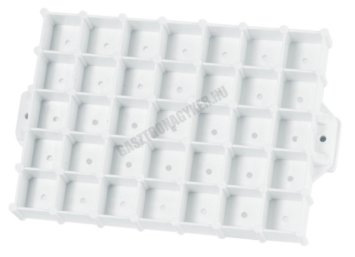 Péksütemény mintázó rács, négyzet, 14x10 cm, műanyag