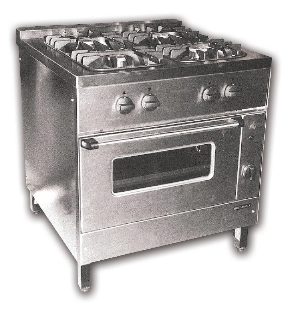 Gáztűzhely, 4 égő+GN 2/1 gáz.üzemű sütő, 4 ráccsal NGT-800