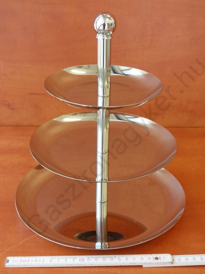 Süteményes állvány 3 emeletes, kerek, 16-21-26×30 cm, rozsdamentes