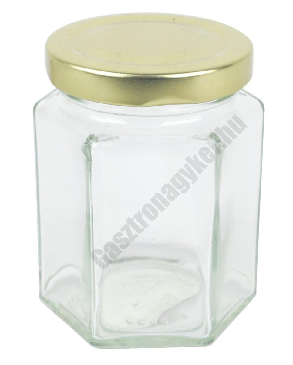 Hatszögletes díszüveg 196 ml aranyszínű tetővel