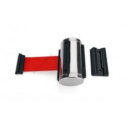 Szalagkazetta, fali kordon, króm, 3 m piros szalag, Highflex