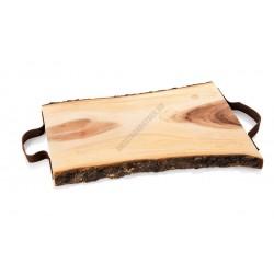 Fa kínáló 2 bőr fogantyúval, 48x31,5x3 cm, akác