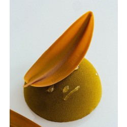 Csokoládédísz készítő fésű, levél, 8 cm, rozsdamentes