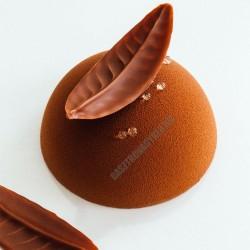 Csokoládédísz készítő fésű, mintás levél, 6 cm, rozsdamentes