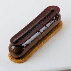 Csokoládédísz készítő fésű, mintás eclair, 12x2,5 cm, rozsdamentes