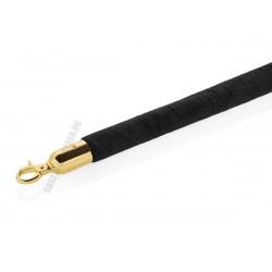 Kordonkötél, fekete, arany színű akasztóval, 250x3,2 cm
