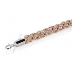 Kordonkötél, fonott, drapp, króm akasztóval, 150x3,2 cm