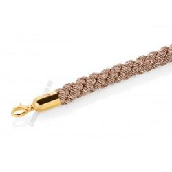 Kordonkötél, fonott, bézs, arany színű akasztóval, 150x3,2 cm