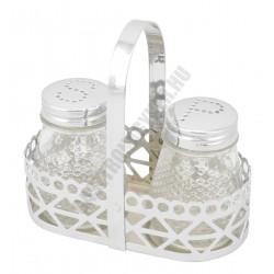 2 részes só-, borsszóró készlet fém füles tartóban