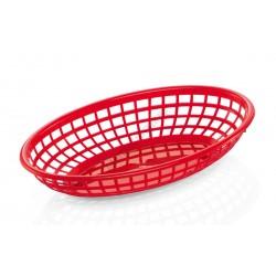 Kenyérkosár, ovális, 23,5x14,5x4,5 cm, piros, műanyag