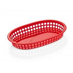 Kenyérkosár, ovális, 27x17,5x3,5 cm, piros, műanyag