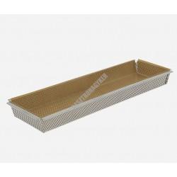 Perforált sütőforma sütőpapírral, téglalap alakú, rozsdamentes